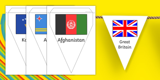 Rio Olympics 2016 Country Flags Bunting - rio olympics, 2016 olympics, country, flags, bunting, display