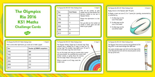 The Olympics Rio 2016 KS1 Maths Challenge Cards