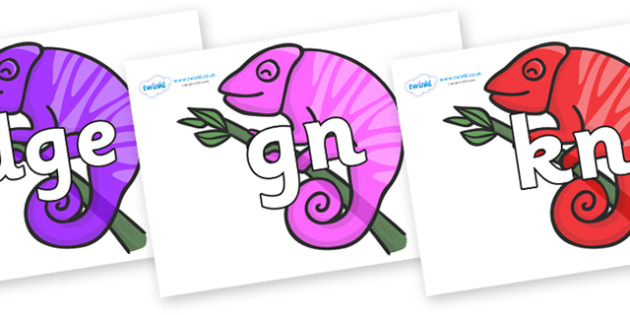 Silent Letters on Chameleons - Silent Letters, silent letter, letter blend, consonant, consonants, digraph, trigraph, A-Z letters, literacy, alphabet, letters, alternative sounds
