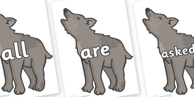 Tricky Words on Wolf Cubs - Tricky words, DfES Letters and Sounds, Letters and sounds, display, words