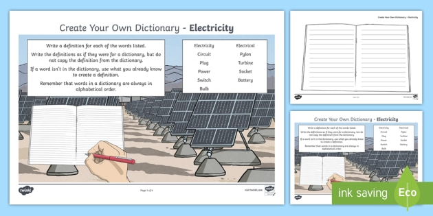 Electricity Key Vocabulary Create Your Own Dictionary - definitions, creating texts, alphabetical order, reading, writing, science