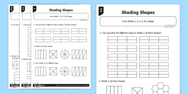 Shade 1/2, 1/4 or 2/4 of a shape Differentiated Activity Sheets - Fraction, 1/2, 1/4, 2/4, half, halves, quarter, shape