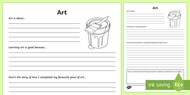 Art Reflection Writing Template - writing template, subject, self assessment, feelings, visual art, arts education, art and craft