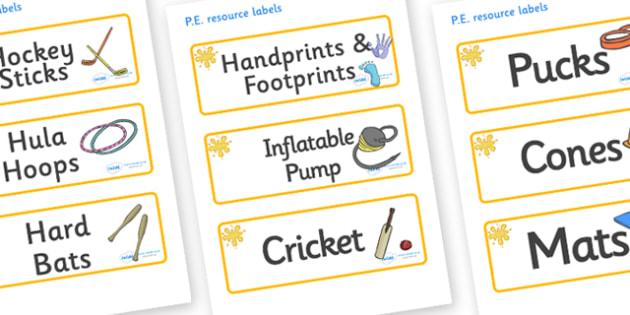 Orange Themed Editable PE Resource Labels - Themed PE label, PE equipment, PE, physical education, PE cupboard, PE, physical development, quoits, cones, bats, balls, Resource Label, Editable Labels, KS1 Labels, Foundation Labels, Foundation Stage Lab