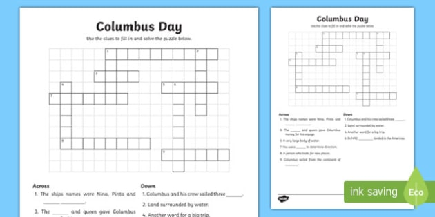 Columbus Day Crossword