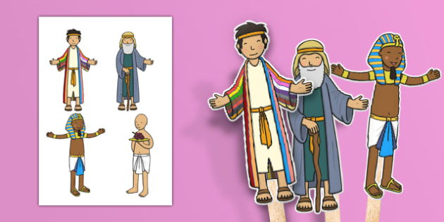 Joseph Stick Puppets - Joseph, coat, Jacob, bible story, bible, slave, brothers, story, story book, story sequencing, story resources, stick puppet, cupbearer, pharao, prison, cows, corn, dreams, Palace, Egypt, fat, thin