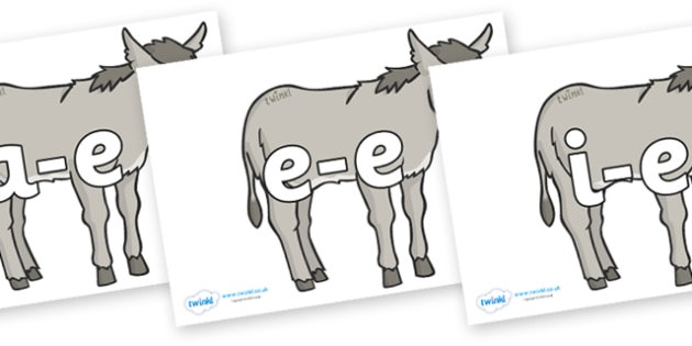 Modifying E Letters on Donkeys - Modifying E, letters, modify, Phase 5, Phase five, alternative spellings for phonemes, DfES letters and Sounds