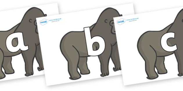 Phoneme Set on Gorillas - Phoneme set, phonemes, phoneme, Letters and Sounds, DfES, display, Phase 1, Phase 2, Phase 3, Phase 5, Foundation, Literacy