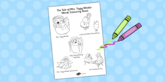 The Tale of Mrs Tiggy Winkle Words Colouring Sheet - mrs tiggy winkle