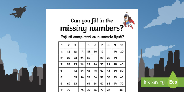 Superhero Themed Missing Numbers 100 Square Activity Sheet English/Romanian - Superhero Themed Missing Numbers 100 Square Activity Sheet - superhero, superheroes, missing numbers