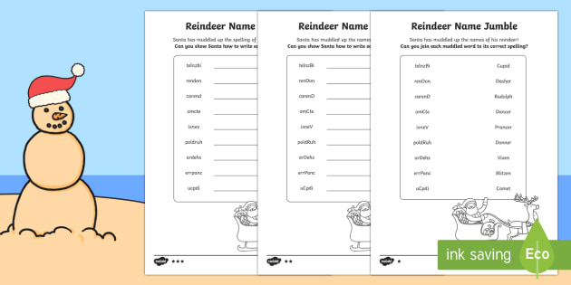 Reindeer Name Jumble Differentiated Activity Sheets-Australia