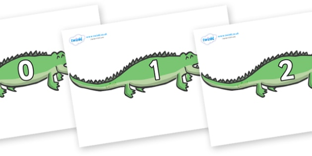 Numbers 0-100 on Crocodiles - 0-100, foundation stage numeracy, Number recognition, Number flashcards, counting, number frieze, Display numbers, number posters