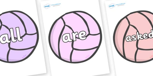 Tricky Words on Balls - Tricky words, DfES Letters and Sounds, Letters and sounds, display, words