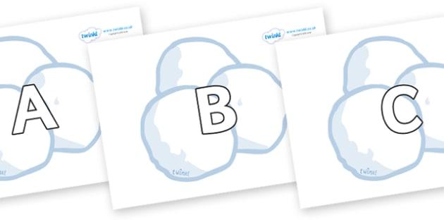 A-Z Alphabet on Snowballs - A-Z, A4, display, Alphabet frieze, Display letters, Letter posters, A-Z letters, Alphabet flashcards