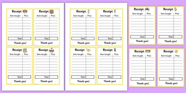 Nursery Rhyme Shop Role Play Receipts - nursery rhyme shop, nursery rhyme, rhyme, receipts
