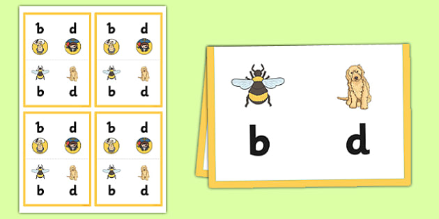 B, D, P and Q Desk Cards - prompt cards, card, visual aids, letters