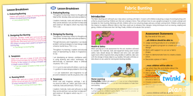 PlanIt - Design and Technology KS1 - Fabric Bunting Planning Overview CfE - planit, planning, overview, cfe