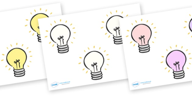 Editable Lightbulbs (Small) - Electric, safety, editable, label, safe, page border, border, writing template, writing aid, writing aid, power, circuit, electricity, battery