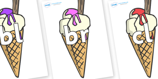 Initial Letter Blends on Ice Cream Cones to Support Teaching on The Very Hungry Caterpillar - Initial Letters, initial letter, letter blend, letter blends, consonant, consonants, digraph, trigraph, literacy, alphabet, letters, foundation stage litera