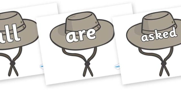 Tricky Words on Cowboy Hats - Tricky words, DfES Letters and Sounds, Letters and sounds, display, words