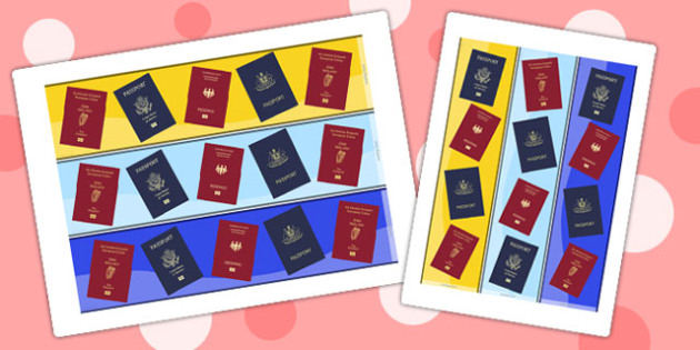 Passport Themed Display Borders - passport, display borders