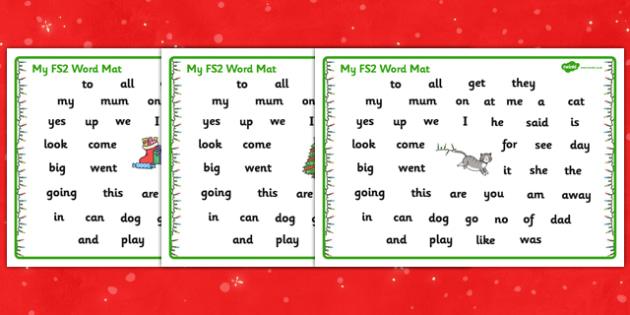 Christmas Cat Themed FS2 Word Mat - christmas cat, cat, christmas, themed, fs2, word, mat, mog