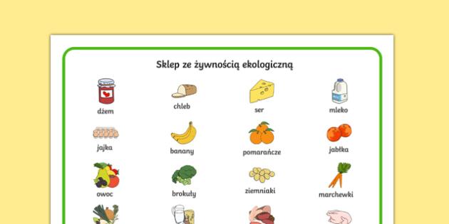 Plansza ze słownictwem Sklep ekologiczny po polsku