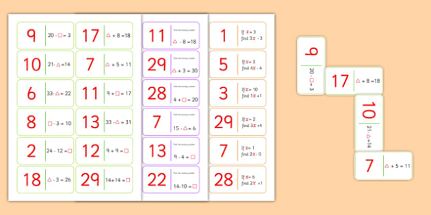 Algebra Dominoes Pack - numeracy, maths, maths games, cards, games
