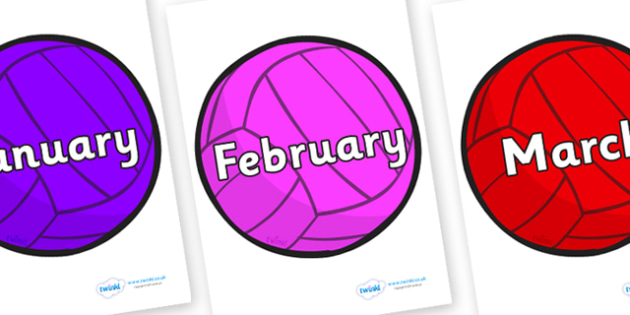 Months of the Year on Water Polo - Months of the Year, Months poster, Months display, display, poster, frieze, Months, month, January, February, March, April, May, June, July, August, September