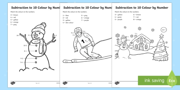 Winter Themed Subtraction to 10 Colour by Number Activity Sheet