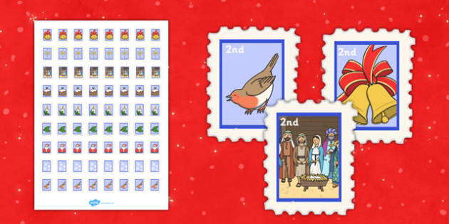 Christmas Post Office Second Class Stamps - christmas post office, christmas, post office
