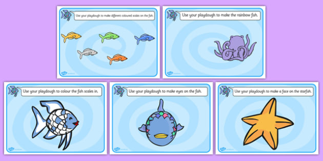 Playdough Mats to Support Teaching on The Rainbow Fish - playdough, mat, rainbow, fish