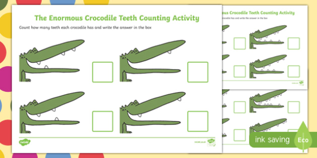 The Enormous Crocodile Teeth Counting Activity Sheet - the enormous crocodile, teeth, counting, count, activity, worksheet