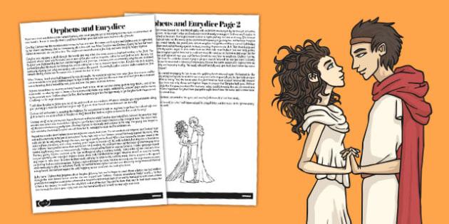 Orpheus and Eurydice Story Print Out - story, orpheus, eurydice