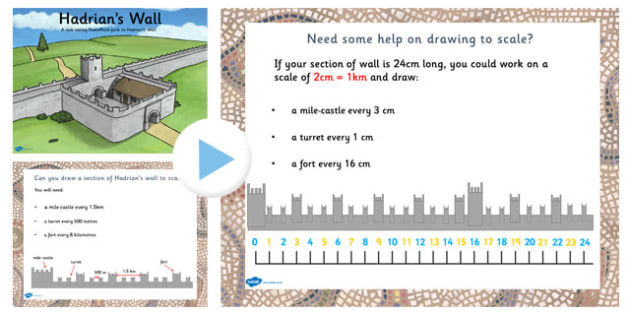 Hadrians Wall Drawing to Scale Lesson Teaching Pack - scale, size