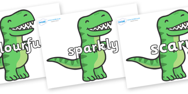 Wow Words on T Rex Dinosaurs - Wow words, adjectives, VCOP, describing, Wow, display, poster, wow display, tasty, scary, ugly, beautiful, colourful sharp, bouncy