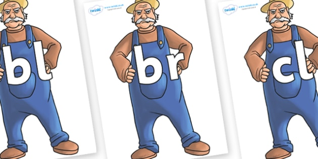 Initial Letter Blends on Angry Farmer - Initial Letters, initial letter, letter blend, letter blends, consonant, consonants, digraph, trigraph, literacy, alphabet, letters, foundation stage literacy