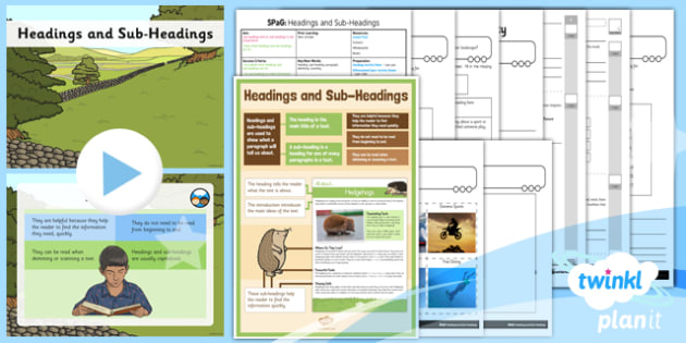 PlanIt Y3 SPaG Lesson Pack: Headings and Sub-Headings - gps, non chronological, report, non fiction, title