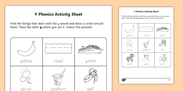 y Phonics Activity Sheet-Irish, worksheet
