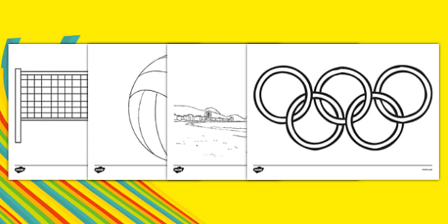Rio 2016 Olympics Beach Volleyball Colouring Sheets - Beach Volleyball, Olympics, Olympic Games, sports, Olympic, London, 2012, colouring, fine motor skills, poster, worksheet, vines, A4, display, activity, Olympic torch, events, flag, countries
