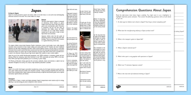 Comprehension Activity about Japan - comprehension, activity, japan