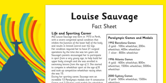 Australian Olympic Athletes Fact Sheet Louise Sauvage - Australia, Olympic Games, Olympics, Paralympics, Athletes, Information, Fact Sheet, Reading Comprehension, Year 6 History