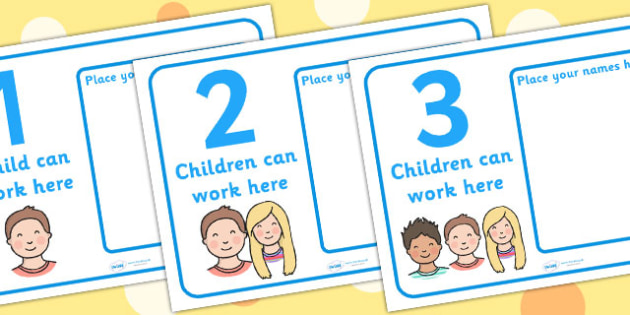 How Many Can Work Here Name Posters - Display, poster, classroom area display, how many can, child self management