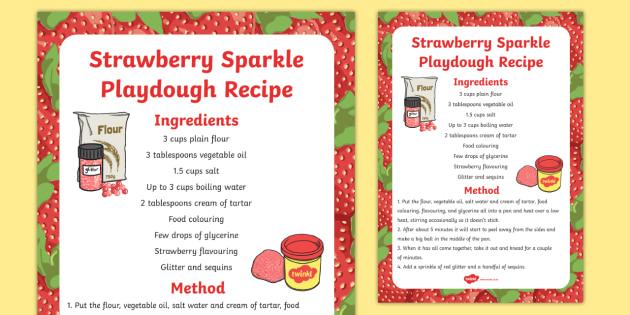 Strawberry Sparkle Playdough Recipe - strawberry, playdough, recipe