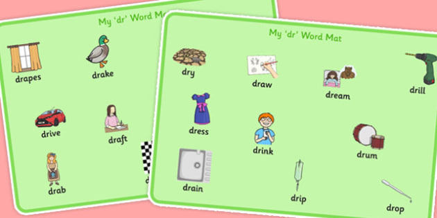 DR Word Mats -speech sounds, phonology, articulation, speech therapy, cluster reduction, clusters, blends