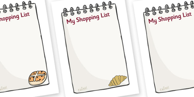 Bakery Shopping List - Bakery Role Play Pack, Role Play Shopping Lists - Shopping list, Shopping, Role Play, Money, Shop, Till, Purchase, topic, activity, buyingbaker, oven, bread, great fire of london, buns, customer, role play, display, poster