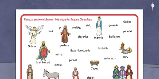 Plansza ze słownictwem Boże Narodzenie po polsku - religia
