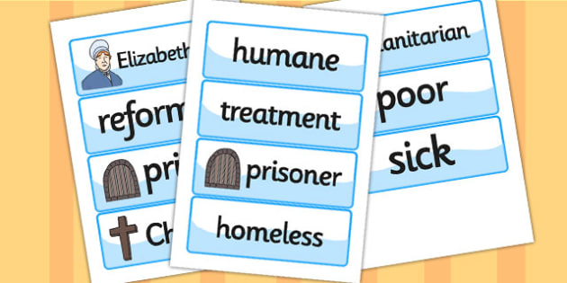 Elizabeth Fry Word Cards - elizabeth fry,  word cards, themed word cards, cards of words, key word, topic words, words, writing aid, writing guide, keyword