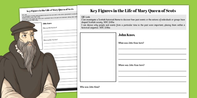 John Knox - Mary Queen of Scots Key Figures Fact File - fact file, scotland