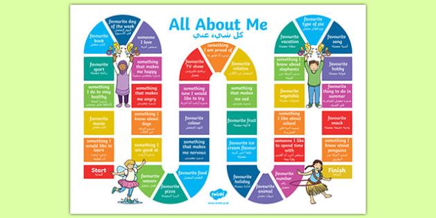 All About Me Board Game Arabic Translation-Arabic-translation